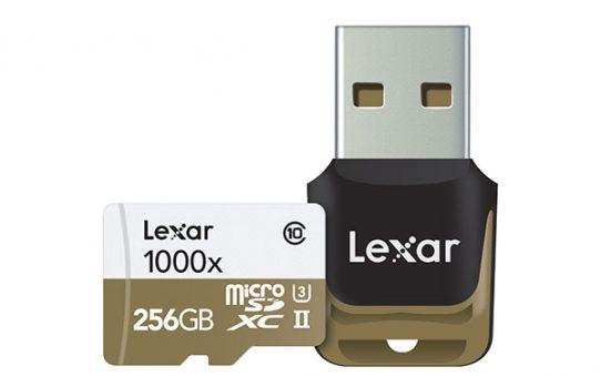 Carte Lexar microSD 1000x 256Go et lecteur