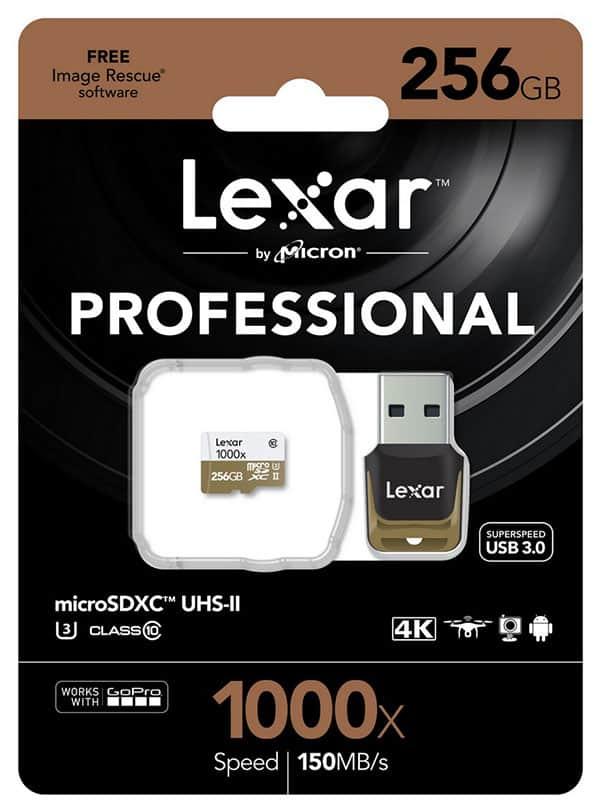 Carte Lexar microSD 1000x 256Go et lecteur, paquet